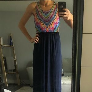 Dresses & Skirts - Bright and stretchy maxi dress. Navy blue skirt.
